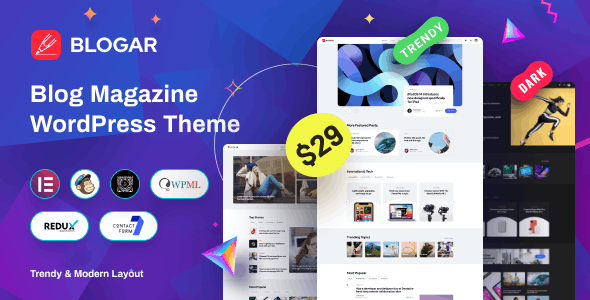 ThemeForest Nulled Blogar v1.0.2 - Blog Magazine WordPress Theme