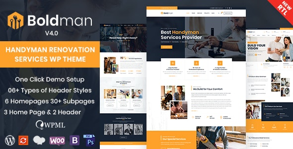 ThemeForest Nulled Boldman v4.1 - Handyman Renovation Services WordPress Theme