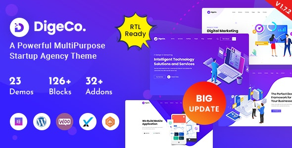 ThemeForest Nulled Digeco v1.7.2 - Startup Agency WordPress Theme