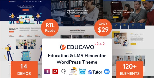 ThemeForest Nulled Educavo v2.4.2 - Online Courses & Education WordPress Theme